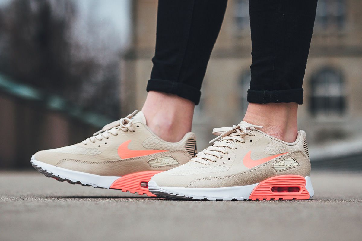New Year Deals Wmns Nike Air Max 90 Ultra 2.0 Essential OatmealWhite Lava Glow Women Running Shoes
