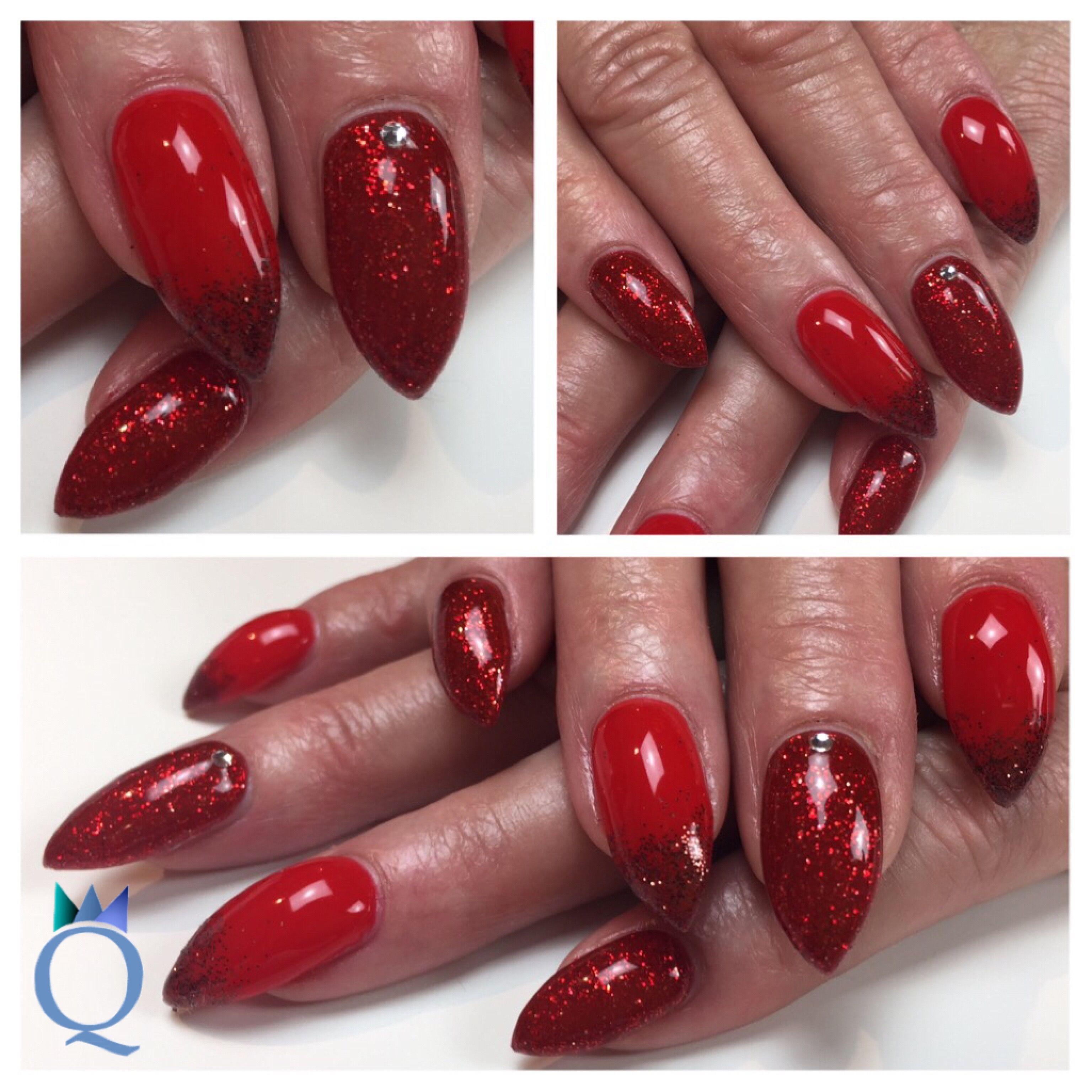 babystilettos #gelnails #nails #red #glitter #silverstone ...