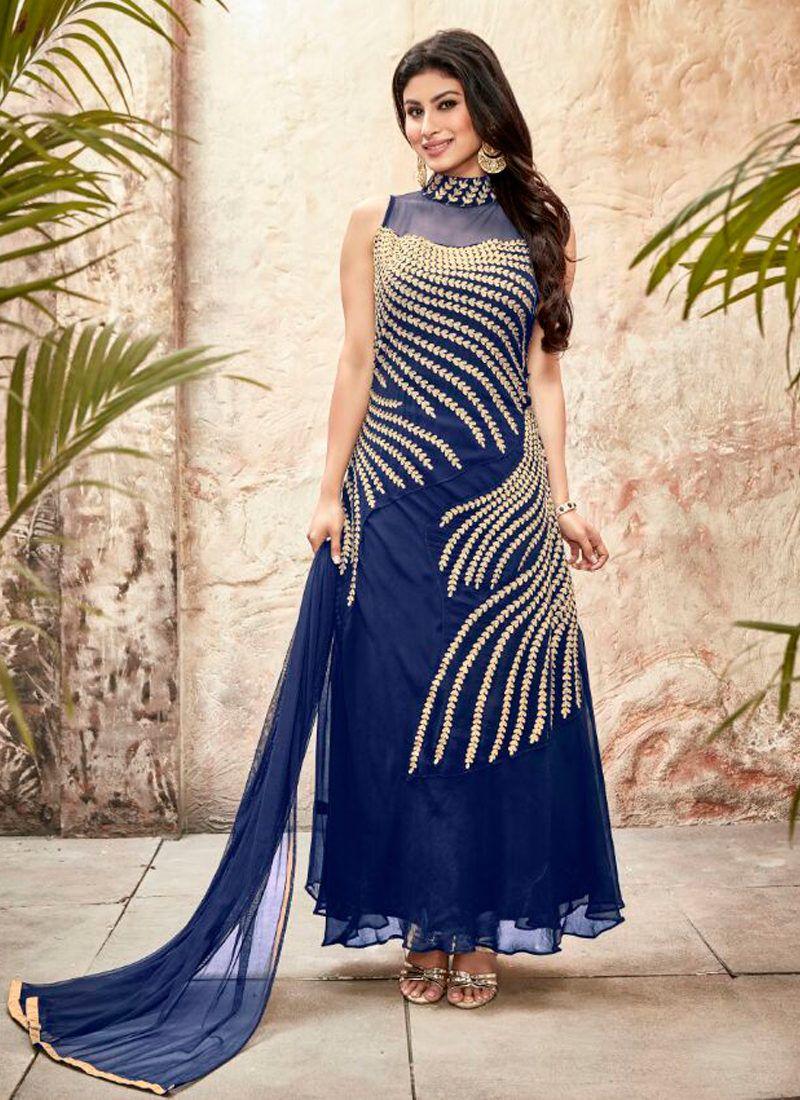 MOUNI ROY BLUE EMBROIDERED DESIGNER SUIT Anarkali dress