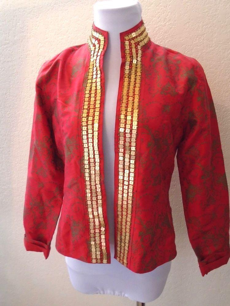 CHICO'S DESIGNER sz 0 100% Silk Red Gold Sequin Asian CHIC Dressy Jacket  Blazer #