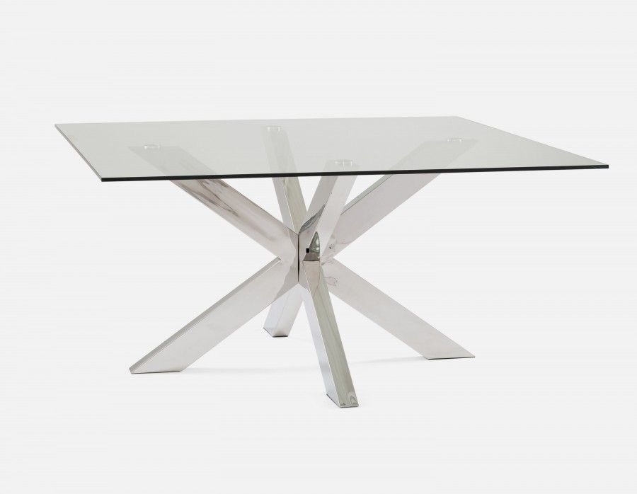 Stardust Glass Square Dining Table Grey Glass Dining Table
