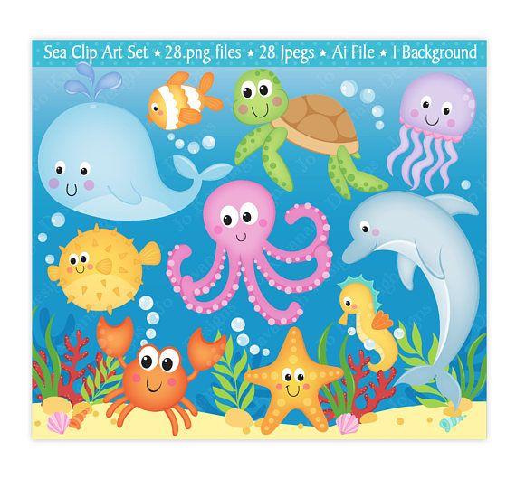 Sea Animals Clip Art Under The Sea Clipart Under The Sea Digital Papers Sea Clip Art Ocean Clipart Cute Sea Animals Commercial Use C23 Sea Animals Under The Sea Clipart Digital Stamps