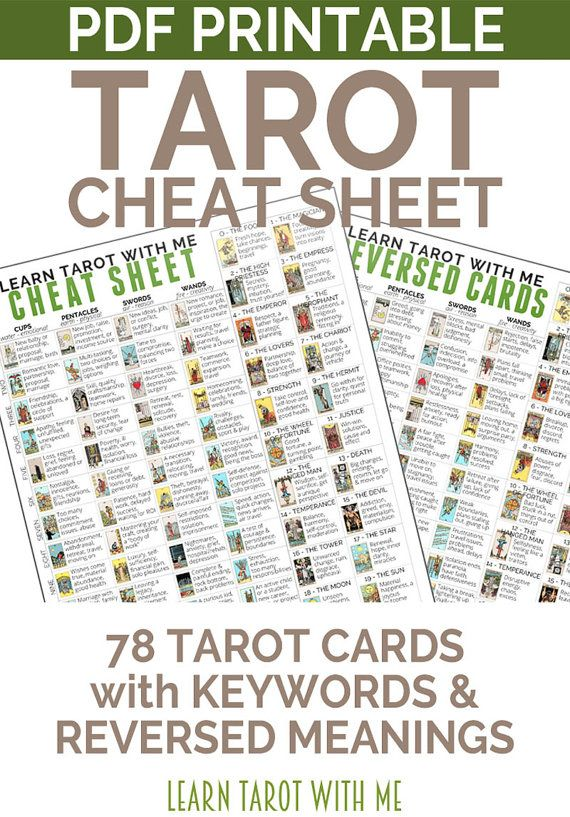 Tarot Card Cheatsheet - Printable PDF with Reversed Tarot Cards - Rider-Waite Tarot Deck - Instant Download PDF