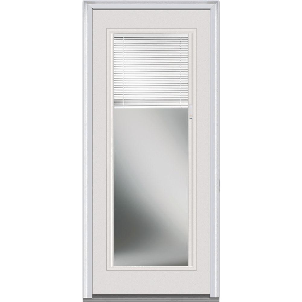 Mmi Door 30 In X 80 In Internal Blinds Left Hand Full Lite Classic Primed Steel Prehung Front Door Emj686blpr26l The Home Depot Mmi Door Steel Front Door Steel Doors Exterior
