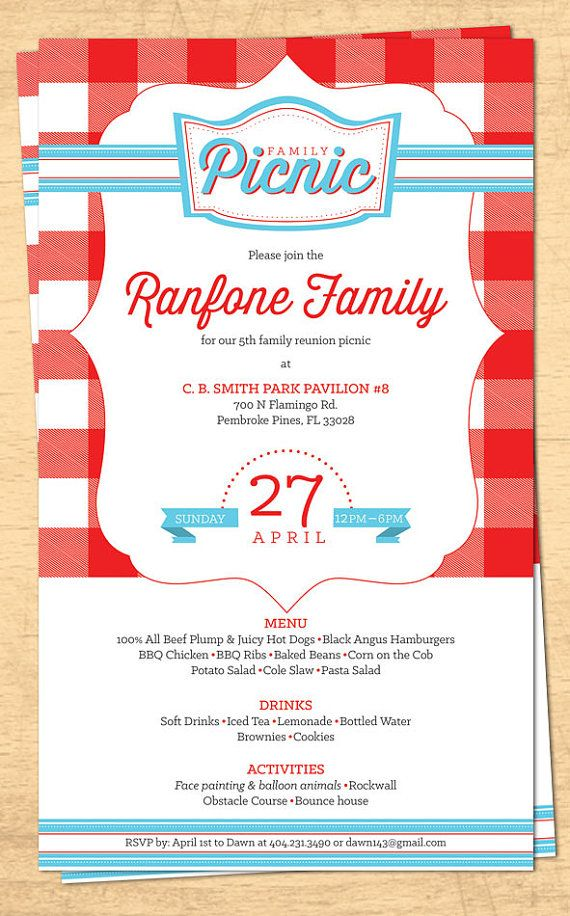 Family Reunion Picnic Invitation  Bbq Invitation  Th Of July