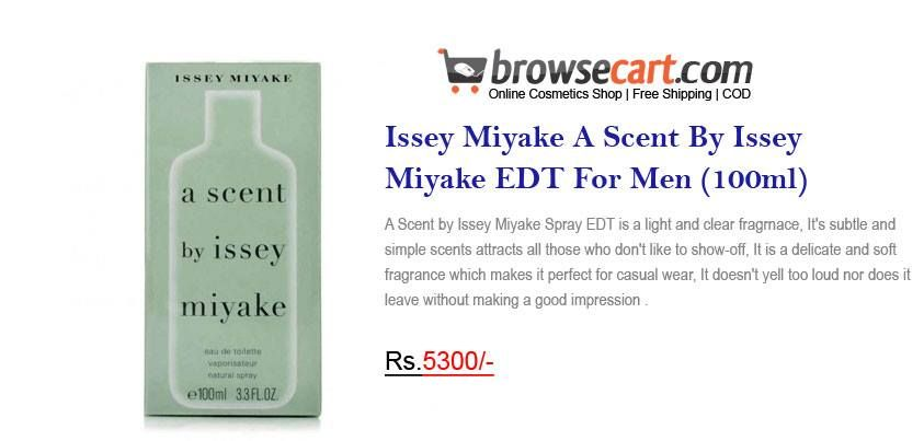 Issey Miyake A Scent By Issey Miyake EDT For Men (100ml) - A Scent by Issey Miyake Spray EDT is a light and clear fragrnace, It's subtle and simple scents attracts all those who don't like to show-off, It is a delicate and soft fragrance which makes it perfect for casual wear.