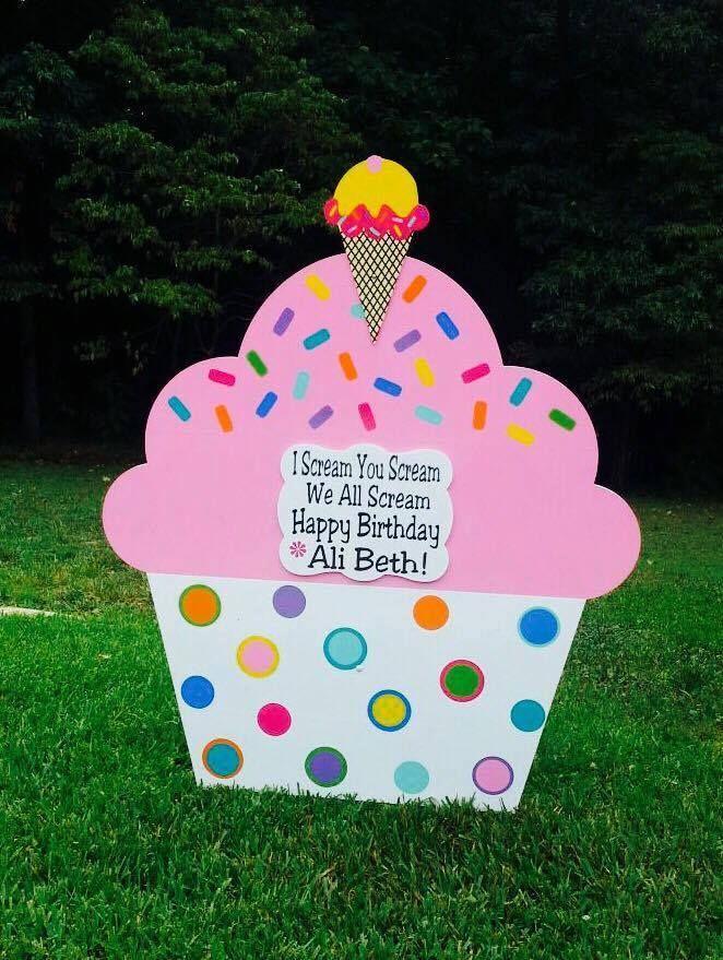 Birthday Yard Sign San Antonio Ice Cream & Cake Lawn