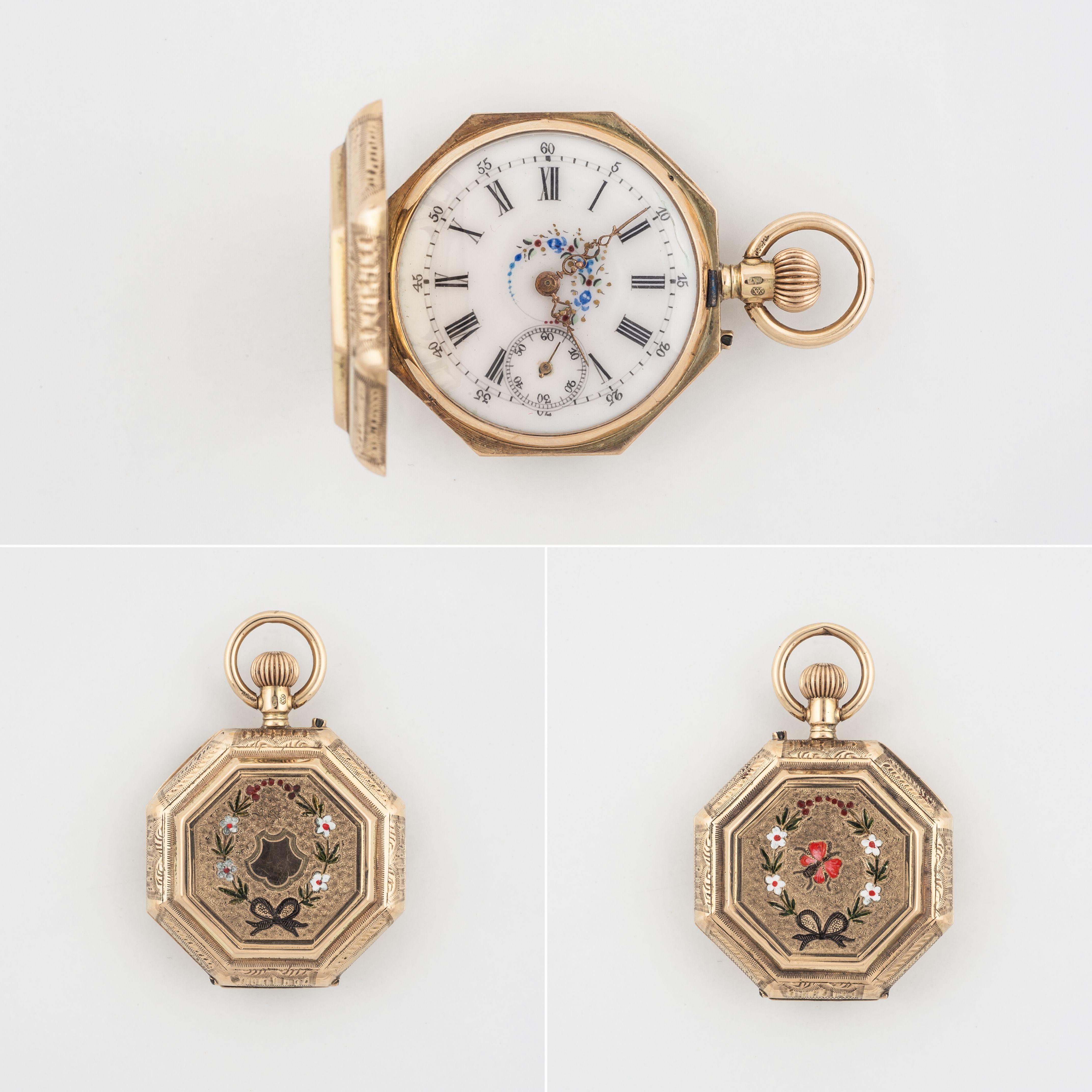 Ladies pocket watch 14 carat yellow gold, enamel , circa 1900-1910