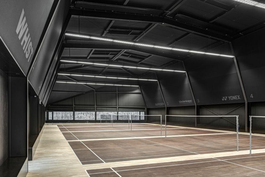ASB Squash court in Switzerland Airplane hangar like