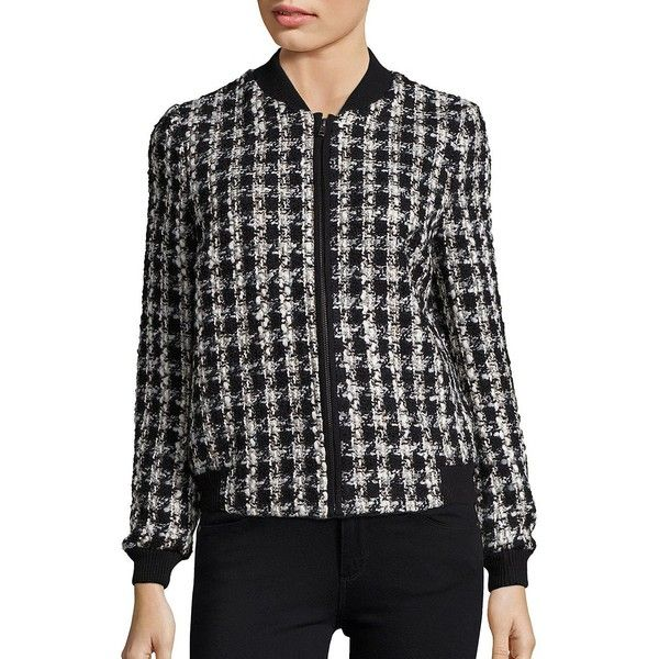Helene Berman Textured Houndstooth Jacket ($149) ❤ liked on Polyvore featuring outerwear, jackets, zip up jackets, textured jacket, helene berman, long sleeve jacket and houndstooth jacket