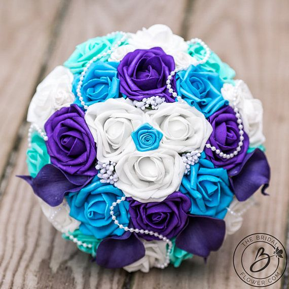 Purple And Turquoise Wedding Bouquet Teal Bridal With Roses Calla Lilies