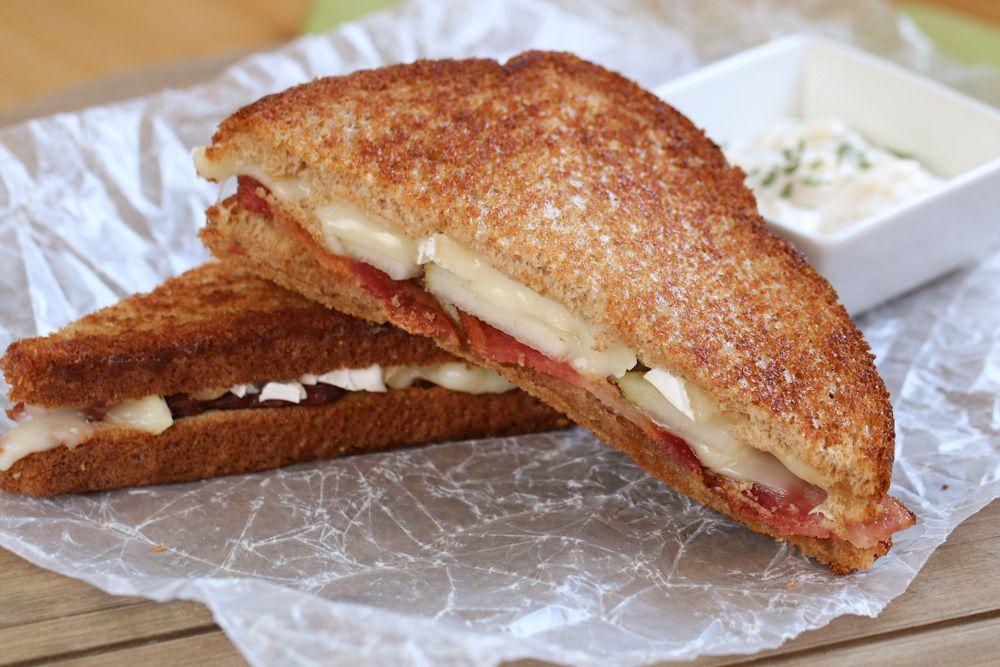 Bacon & Brie Grilled Cheese with Garlic Aioli