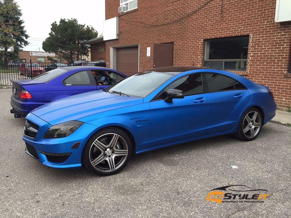 Satin Perfect Blue Mercedes CLS63 Car wrap, Blue car, Blue