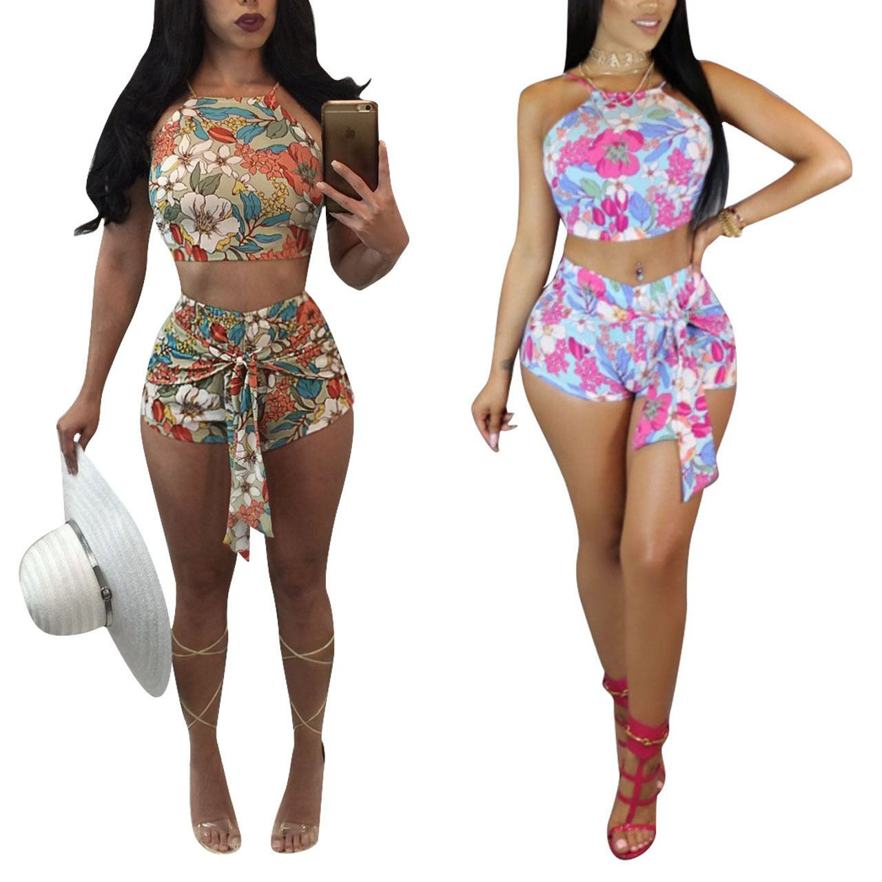 882364dab63 Women 2Piece Set Crop Top Pants Jumpsuit Rompers Bodycon Sport Suit Clubwear