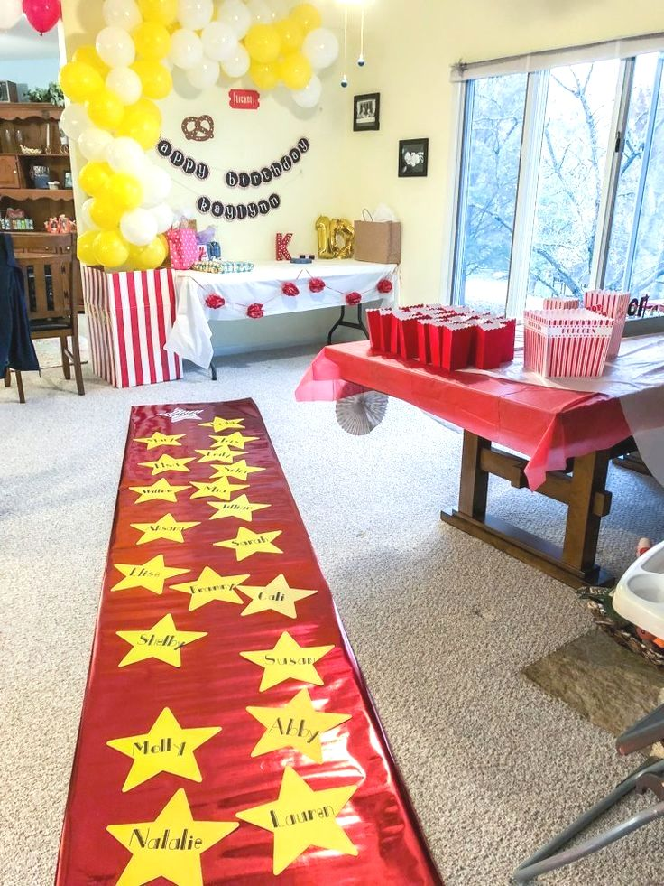 Diy movie theater birthday party with decorations like a