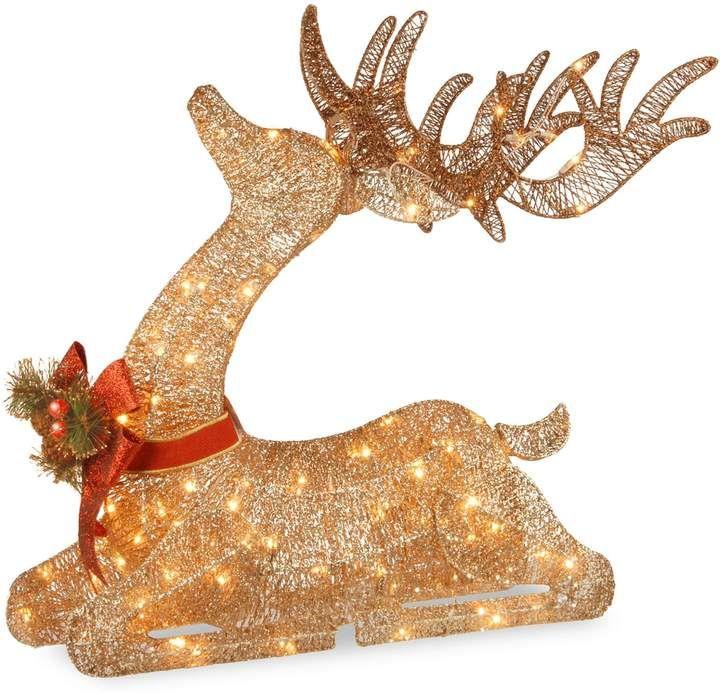 National Tree Company 31-in Pre-Lit Sisal Deer Christmas Decor in