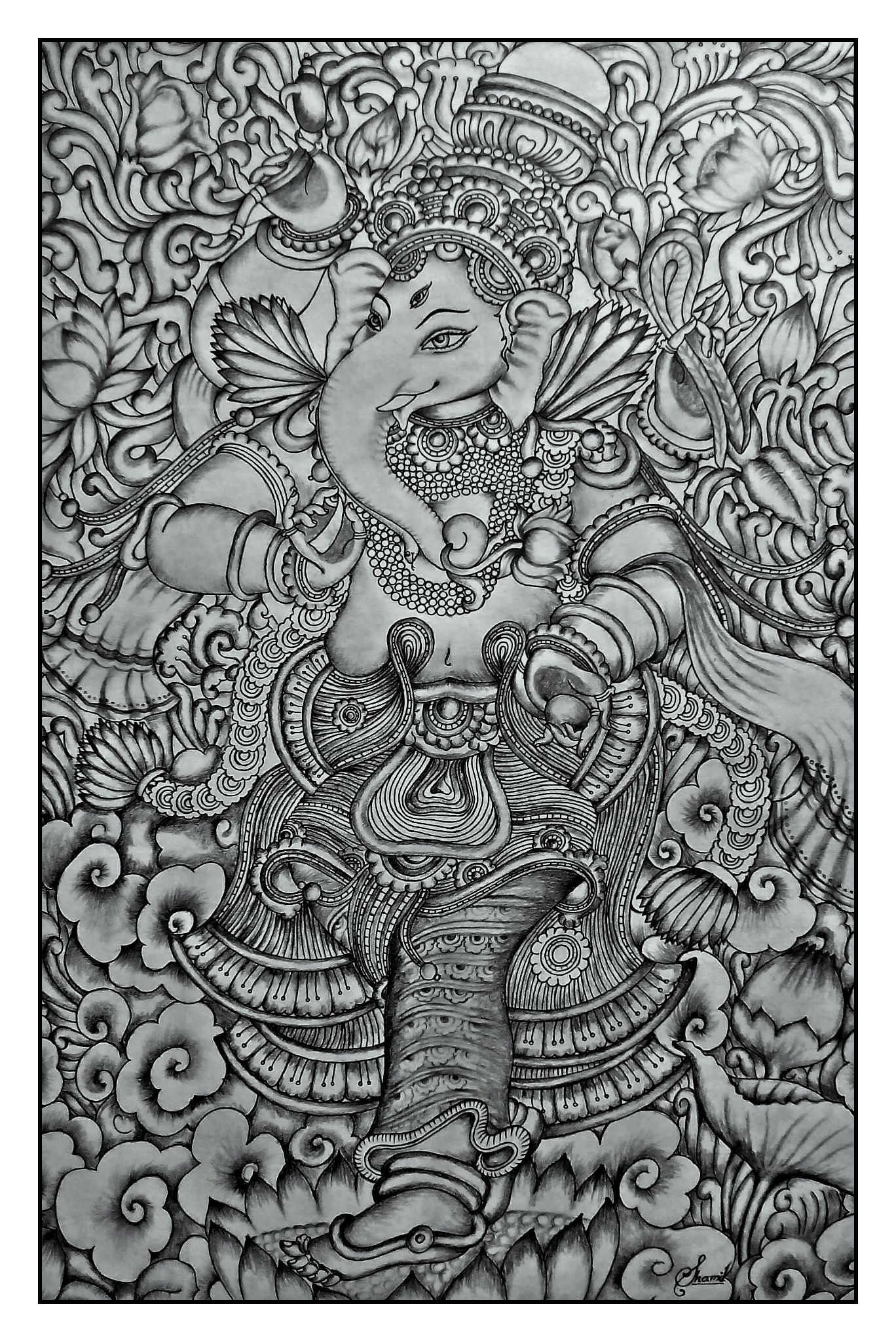 Kerala mural ganesha pencil drawing by shamilart kerala for Ananthasayanam mural painting