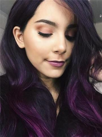 Long Dark Reddish Purple Big Wave Synthetic Lace Front Wig In 2019