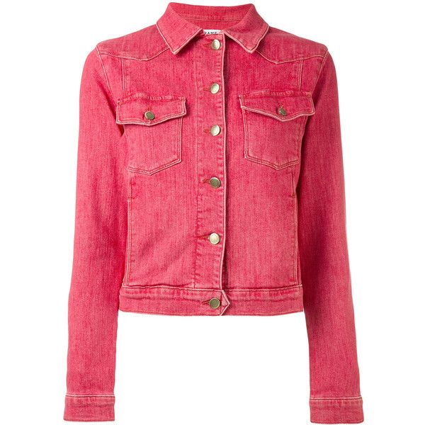 Frame Denim Denim Jacket 450 Liked On Polyvore Featuring Outerwear Jackets Red Red Jean Jacket Jean Jacket Frame Denim Denim Jacket Red Denim Jacket