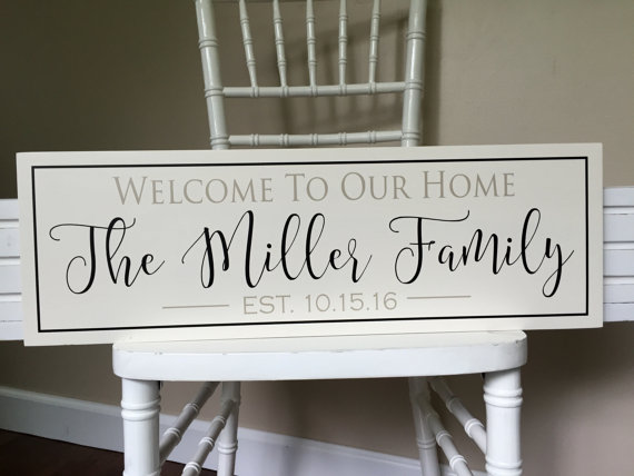 Personalized Welcome Sign Welcome To Our Home Sign Family Etsy Family Wall Sign Custom Family Signs Family Wall