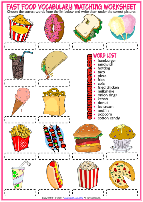 Fast Food Vocabulary ESL Matching Exercise Worksheet | fOoD ...
