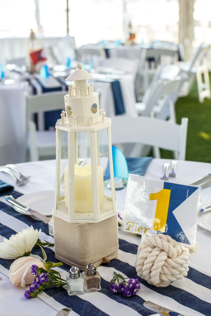 Wonderful Nautical Centerpieces With Lighthouses And Monkeyu0027s Fist Rope Table Numbers