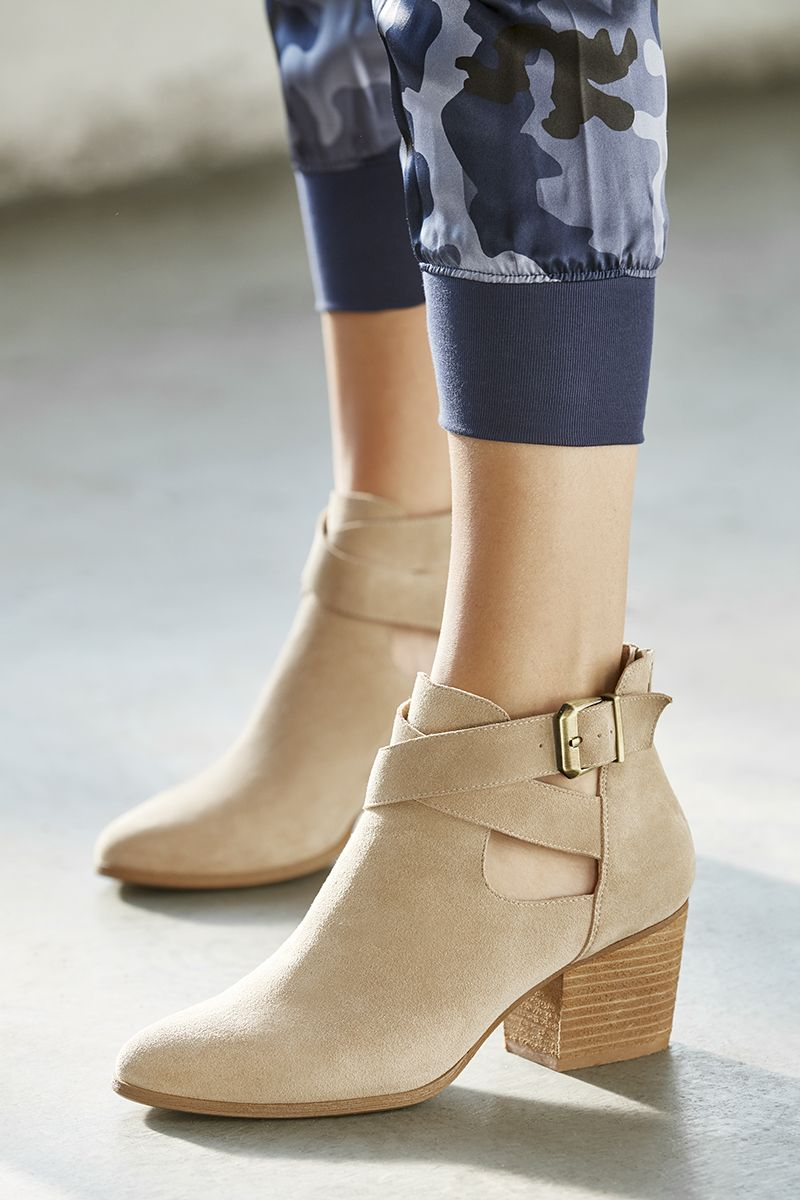 77697270e3f Caramel ankle bootie with cut-out details and a block heel