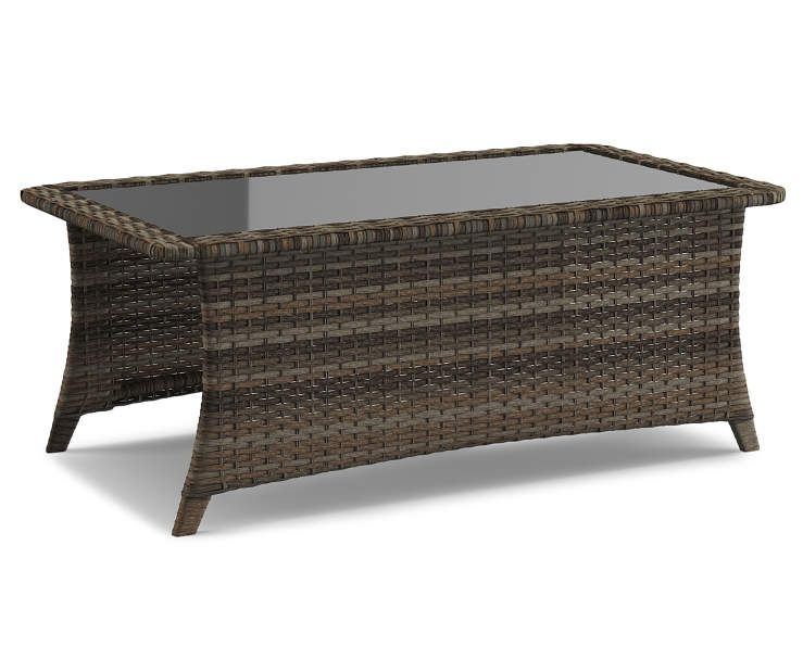 Wilson Fisher Oakmont All Weather Wicker Glass Top Coffee Table Big Lots Coffee Table Patio Furniture Collection Glass Coffee Table