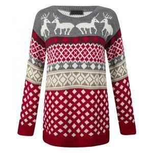 Bianka Grey Fairisle Reindeer Print Christmas Jumper