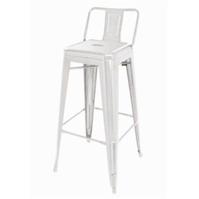 White Metal Bar Stool With Back