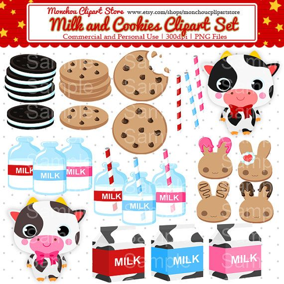 Milk And Cookies Clipart Set For Commercial And Personal Use Etsy In 2021 Milk N Cookies Clip Art Rabbit Cookies