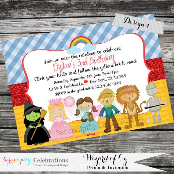 Diy Personalized Invitation Wizard Of Oz Digital By Serendipity Celebrations You Print Printable Invite Dorothy