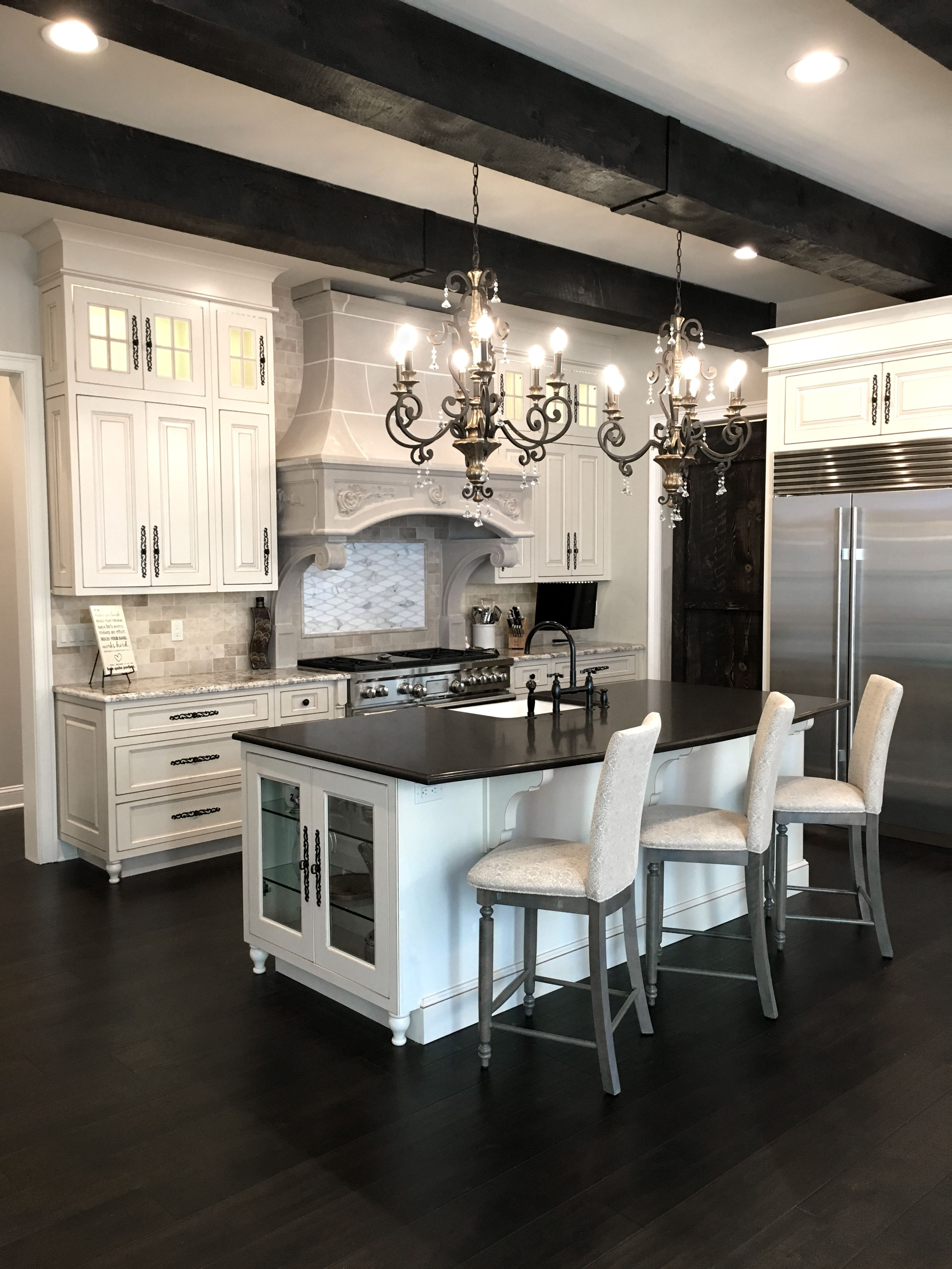 French Country Kitchen Wood Beam Ceiling Island