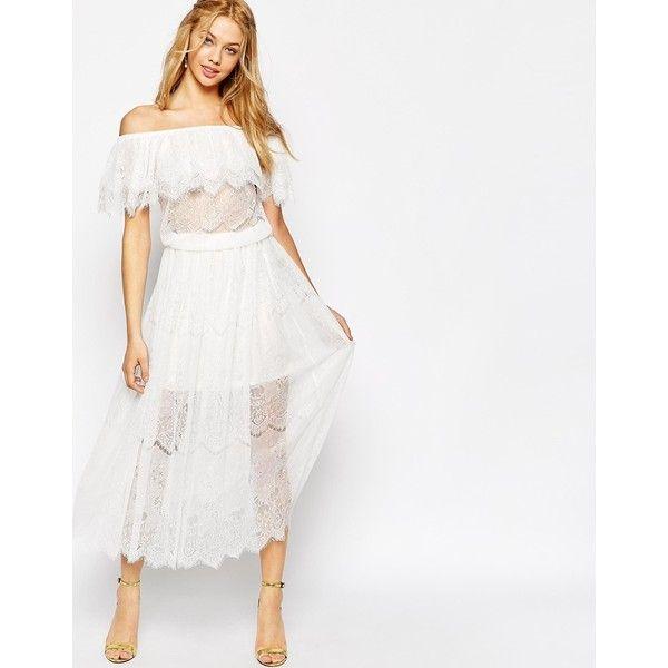 28aa564ac3eb Darccy Vintage Boho Lace Off Shoulder Maxi Dress. | Polyvore | White ...