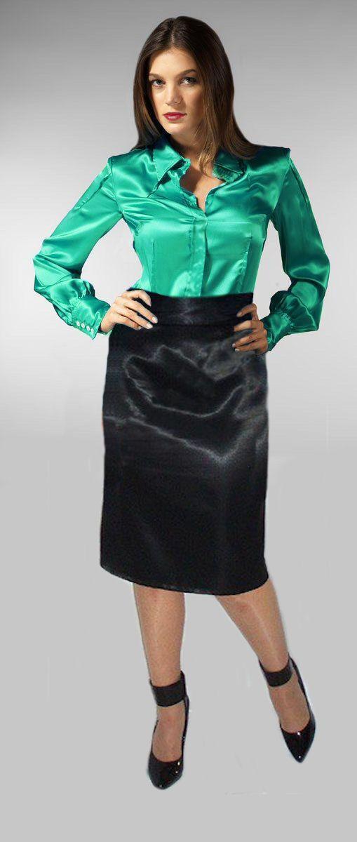 adb4b1af64ee2 Green satin blouse and black satin skirt