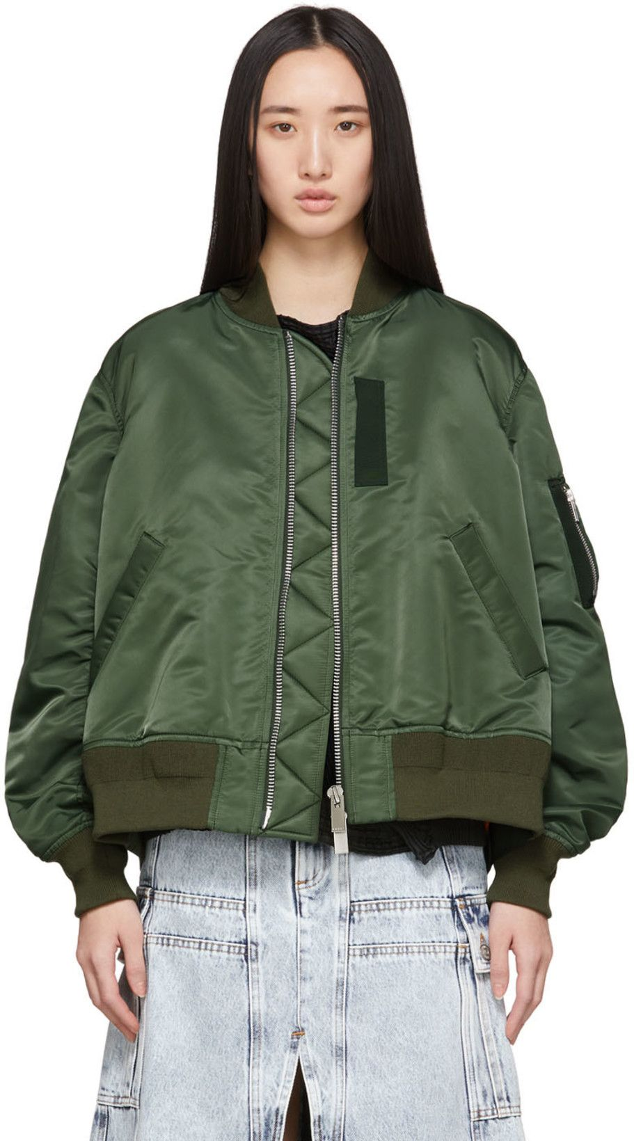 Sacai Khaki Ma 1 Bomber Jacket Ssense Fashion Bomber Jacket Clothes Design [ 1640 x 911 Pixel ]