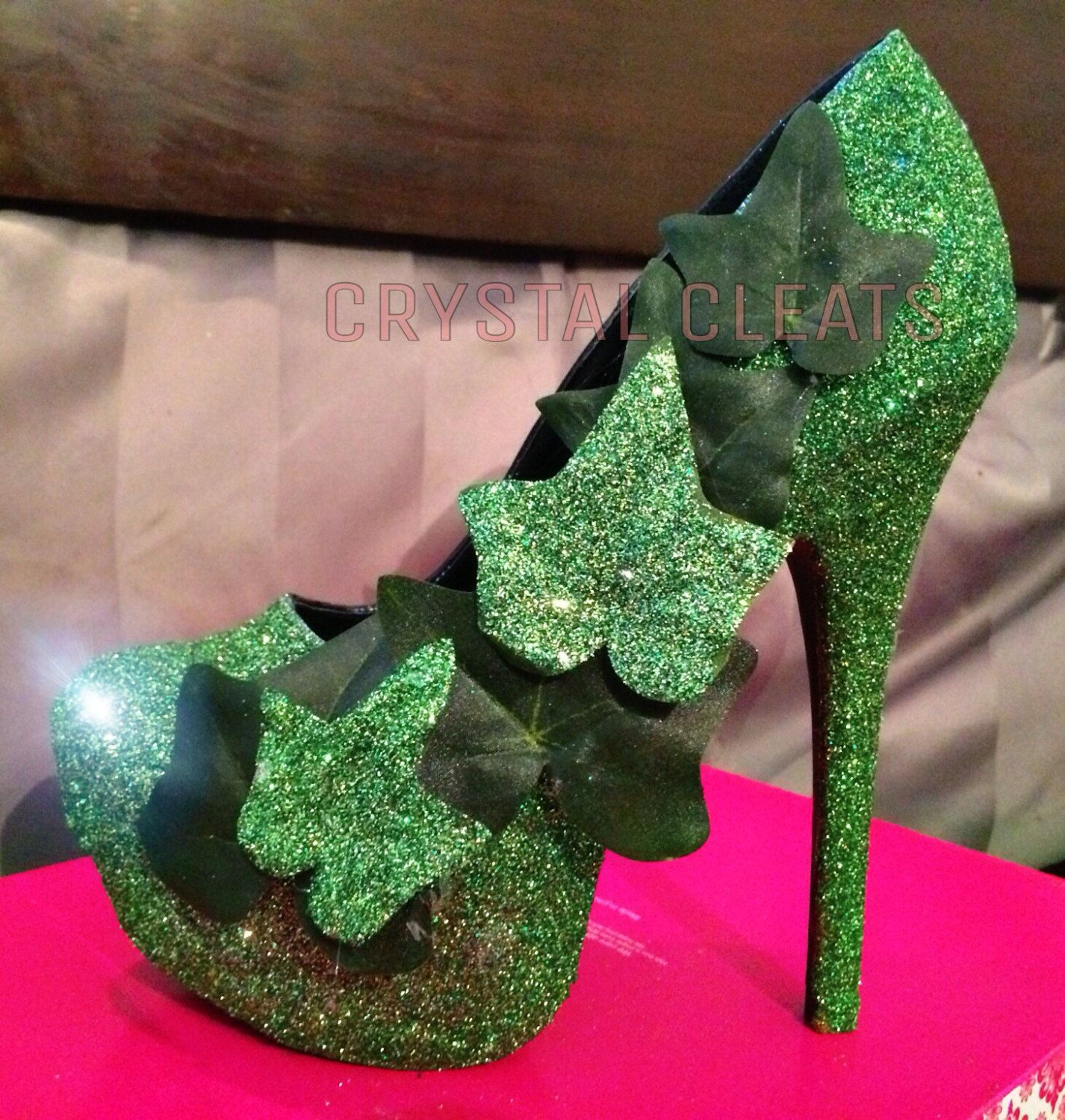 GREEN sparkly glitter eve and Adam or poison IVY high heel stiletto shoes Custom Made  Mardi Gras costume wedding bride stilettos by CrystalCleatss on Etsy COUPON CODE: PINNED10 for $10 off!