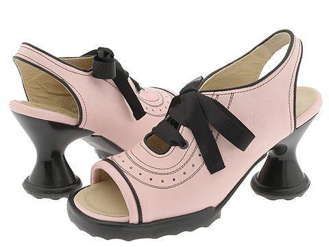 Pink and black Fluevog shoes. So cute.