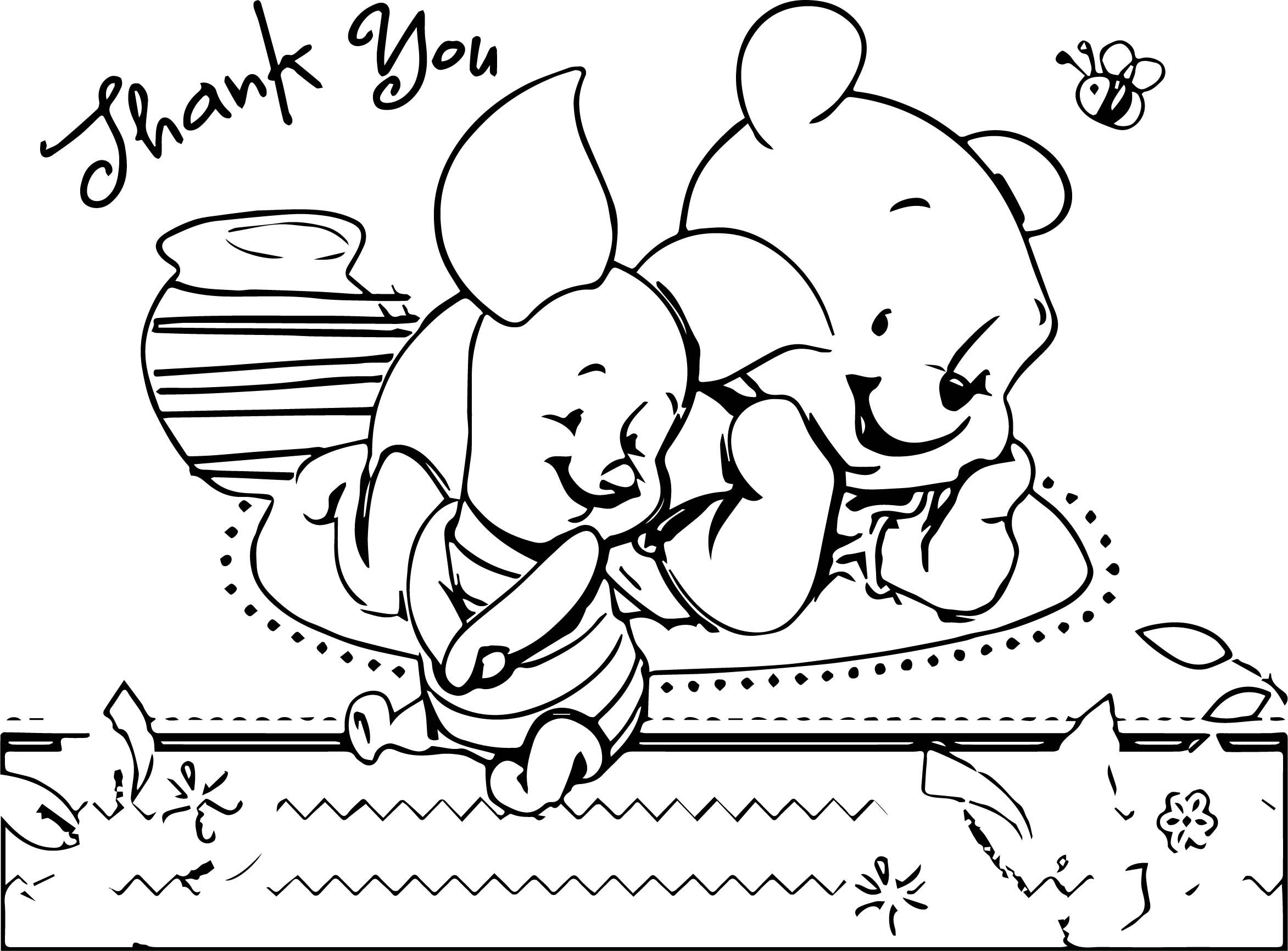 Awesome Pooh Bear Baby Thank You Coloring Page