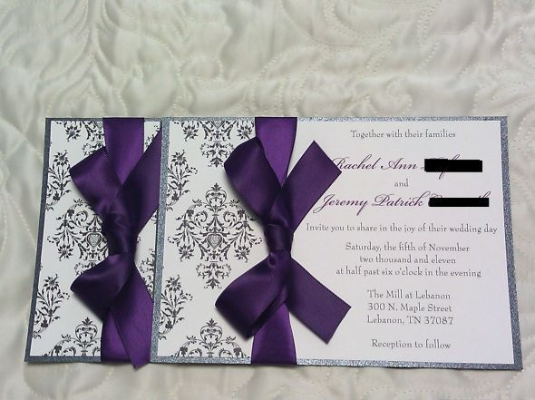 Invitation suite for sale wedding invitations custom damask design purple ivory silver rachel2