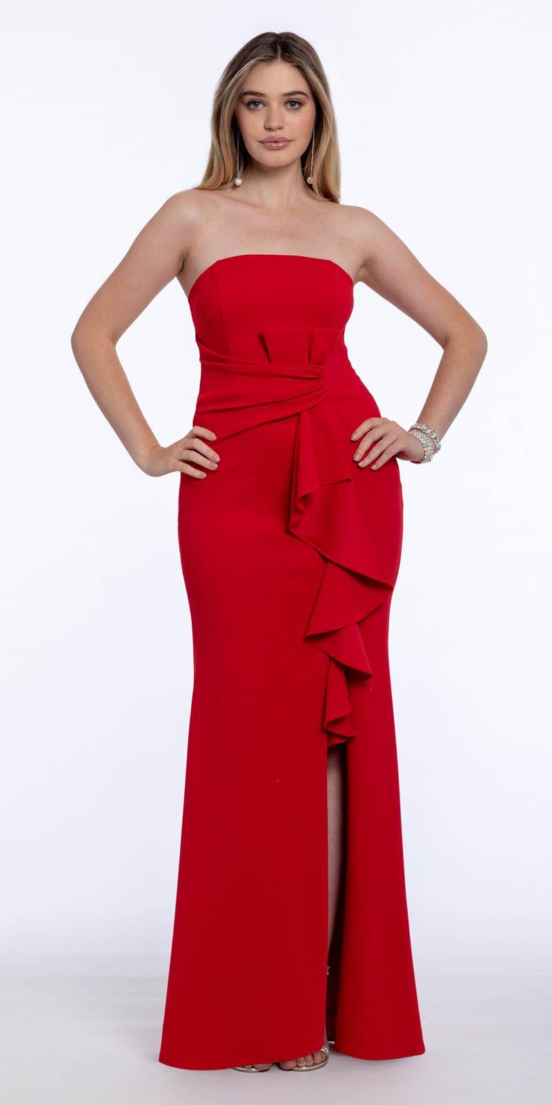 Strapless Ruched Side Cascade Scuba Dress Dresses Scuba Dress Strapless Dress Formal [ 1600 x 800 Pixel ]
