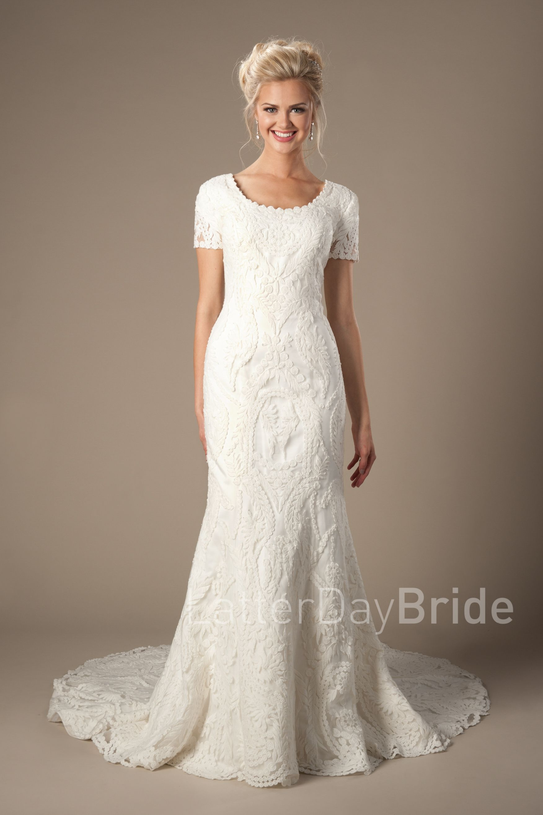 58f1ad5492852 Palisade in 2019   Modest Lace Wedding Dresses   Modest wedding ...