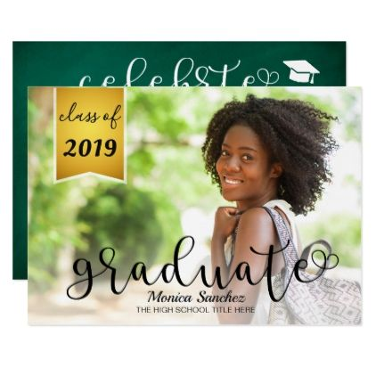 Vintage Chalkboard Typography Photo Graduation Card  Script Gifts
