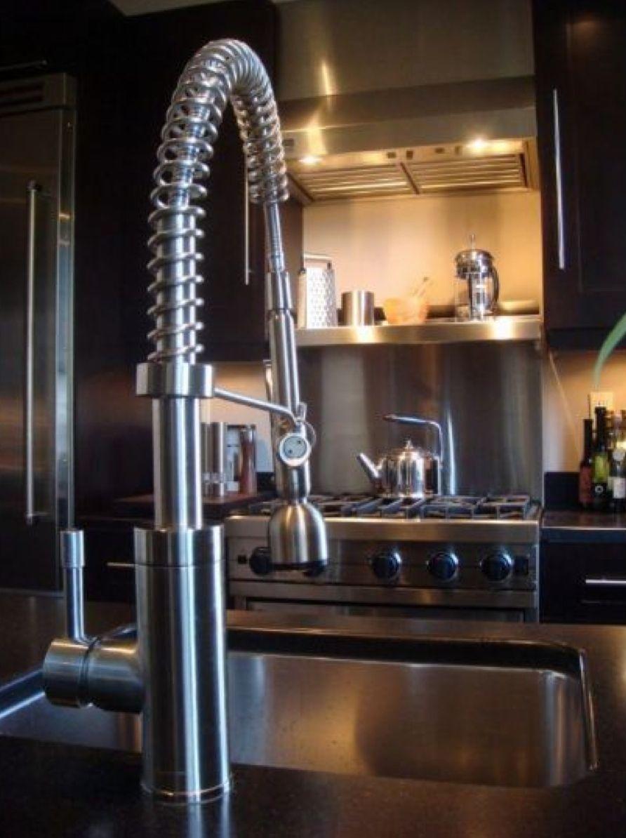 modern kitchen stainless steel backsplash squeeze faucet