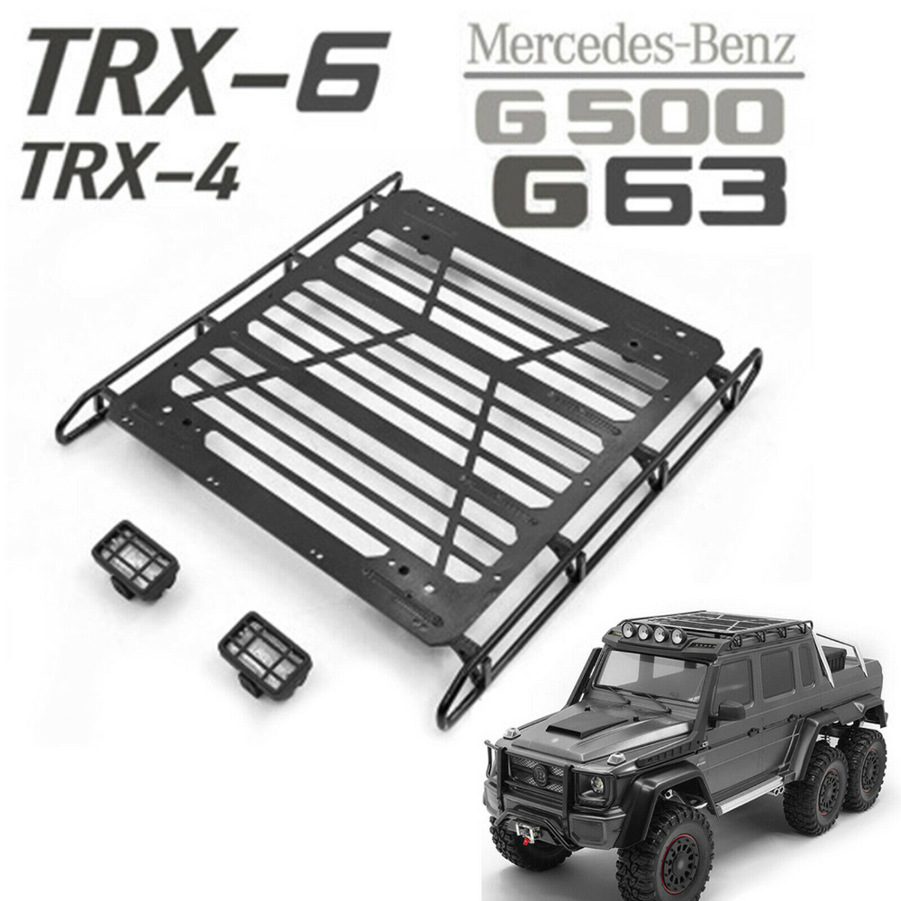 Metal Luggage Roof Rack Led Spotlight For 1 10 Trx 4 Benz G500 Trx 6 G63 Rc Car Ebay In 2020 Benz G500 Roof Rack Rc Cars