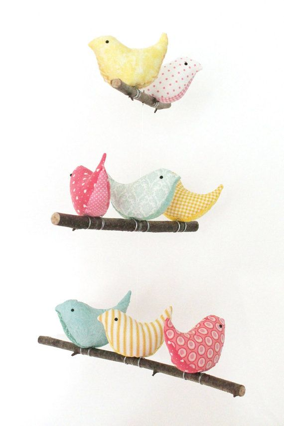 Nursery bird mobile baby crib cot decor 8 by pigshavewings for Bird mobiles for nursery