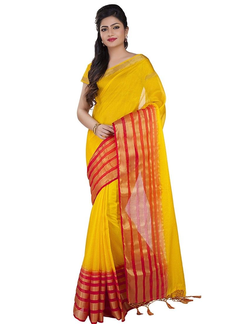 02135247d2 Yellow Kota Silk Cotton #FancySilkSarees | Cotton Sarees Online ...