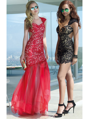 Glamorous Sheath/column Two-style Sweetheart Neckline Floor Length/Mini Lace Prom Dress