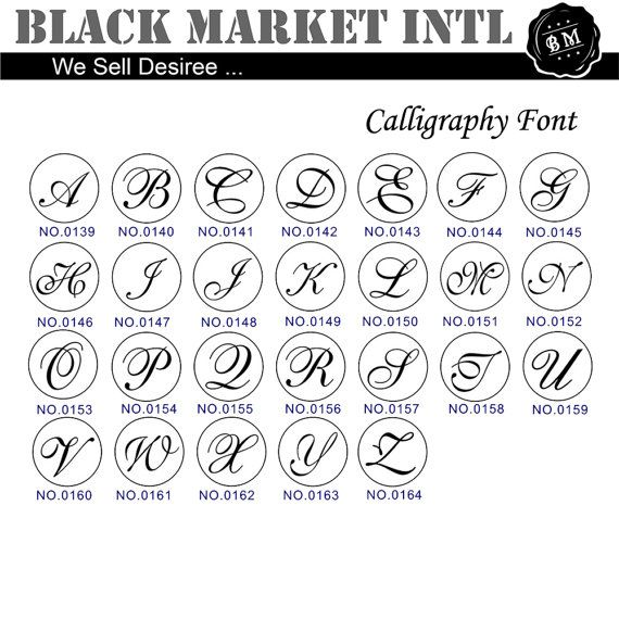 Wax Seal Stamp Set, Calligraphy and Script Font Initial