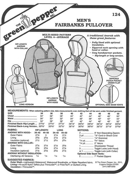 3ea6f9f2f994 Sewing pattern for Anorak Coat Pattern for Men by the Green Pepper pattern  company in Eugene Oregon.